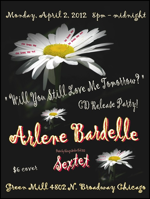Chicago Studio Club 2012 poster for Arlene Bardelle Sextet